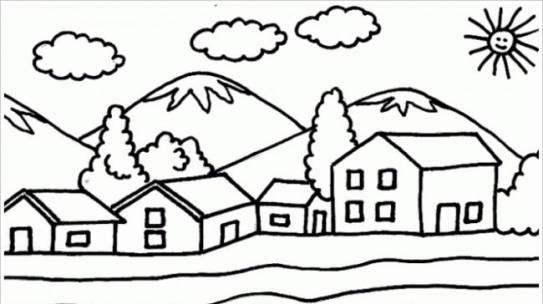 Download tranh tô màu hình ngôi nhà cho bé 4 tuổi