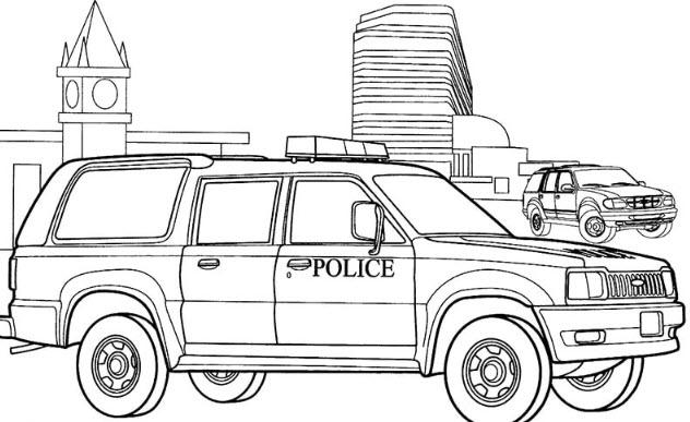 Ảnh tô màu xe cảnh sát có thùng chở phạm nhân