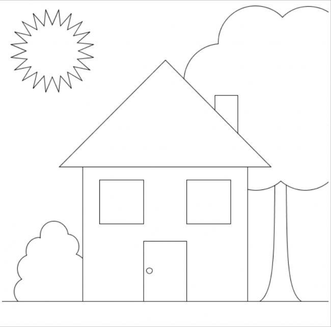 Download tranh tô màu hình ngôi nhà cho bé 4 tuổi 5