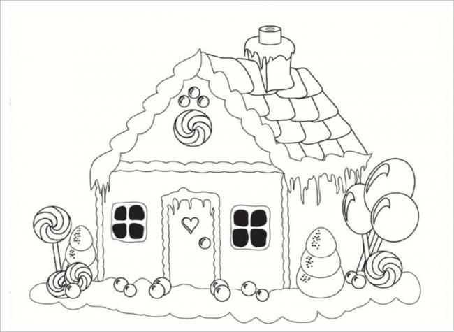Download tranh tô màu hình ngôi nhà cho bé 4 tuổi 9