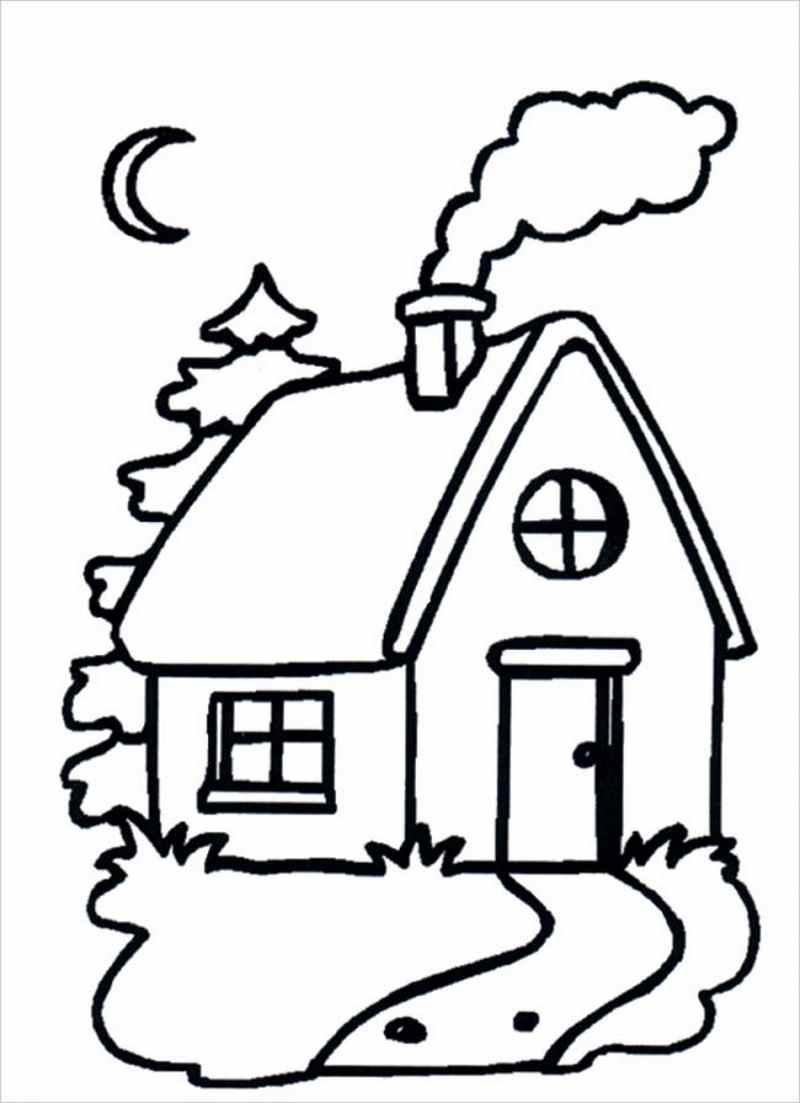 Download tranh tô màu hình ngôi nhà cho bé 4 tuổi 10