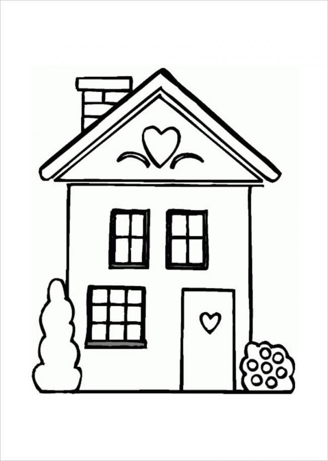 Download tranh tô màu hình ngôi nhà cho bé 4 tuổi 6