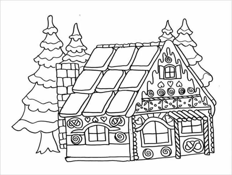 Download tranh tô màu hình ngôi nhà cho bé 4 tuổi 7