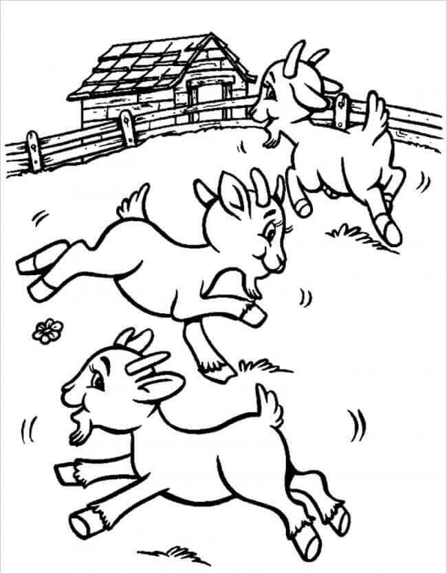 Download tranh tô màu chủ đề động vật con dê cho bé 4 tuổi yêu hội họa 4
