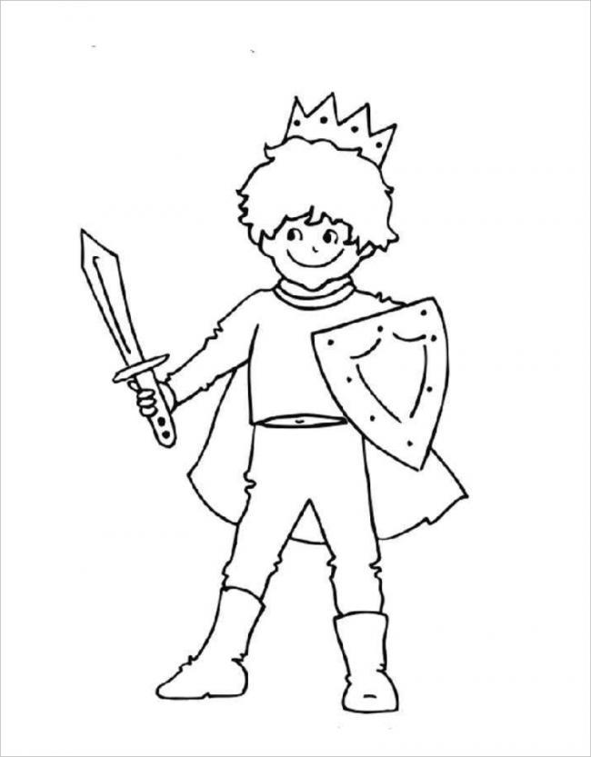 Tải tranh tô màu hoàng tử dành cho bé 4 tuổi 10