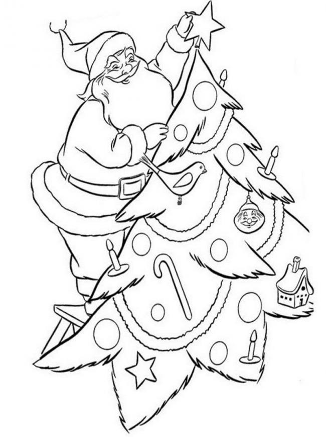 10 Bức tranh tô màu ông già Noel mới nhất cho bé 27