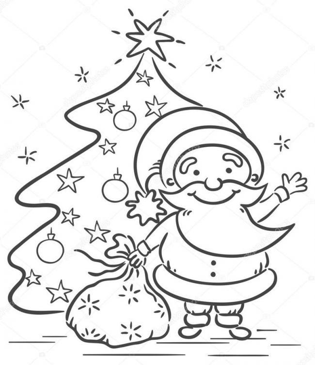 10 Bức tranh tô màu ông già Noel mới nhất cho bé 29