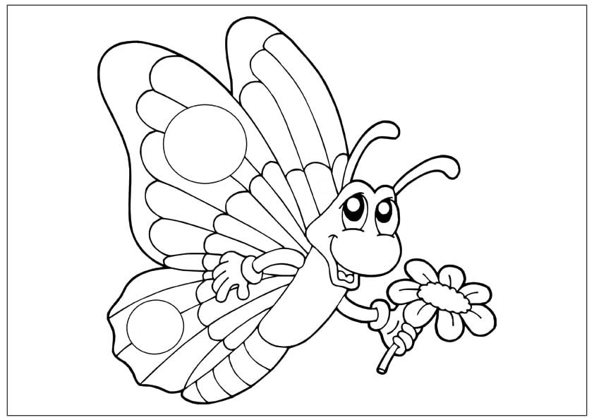 Tranh tô màu con bướm đẹp cho bé gái 61