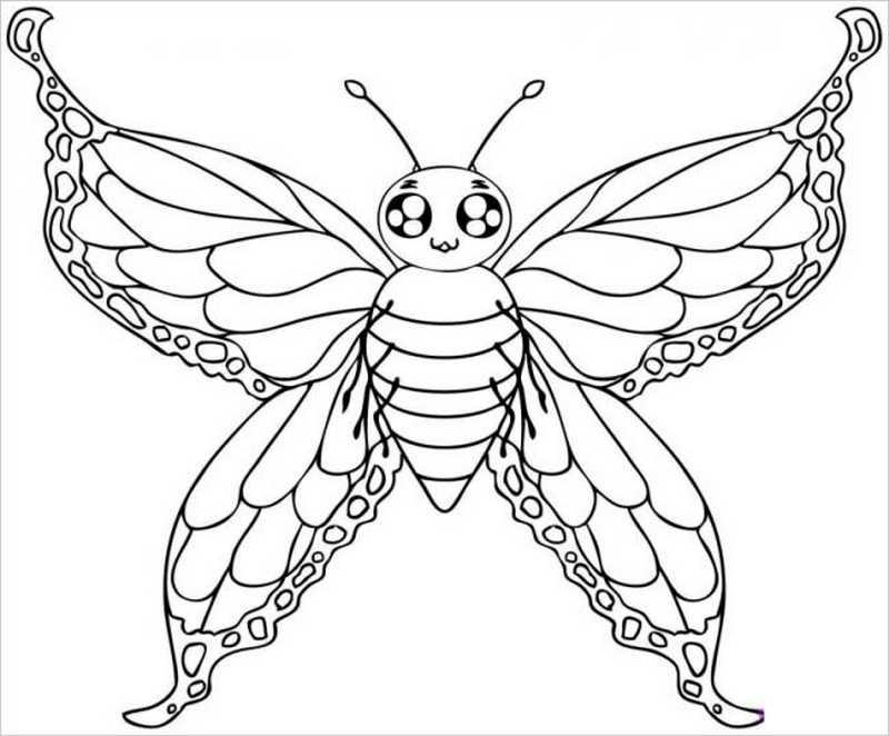 Tranh tô màu con bướm đẹp cho bé gái 64