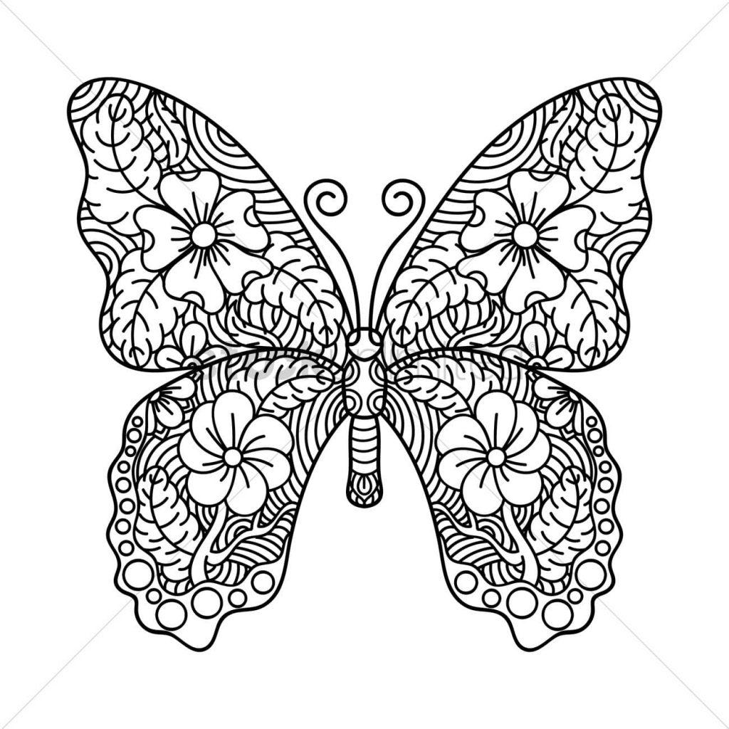 Tranh tô màu con bướm đẹp cho bé gái 68