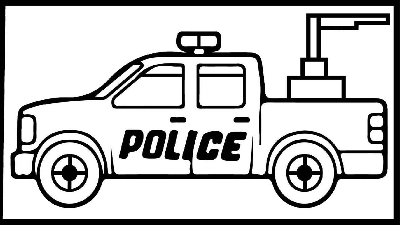 Bộ tranh tô màu xe ô tô cảnh sát đẹp 10