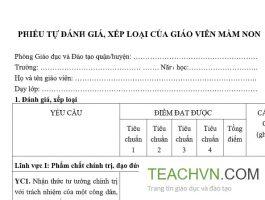 Phiếu tự đánh giá xếp loại giáo viên mầm non theo Thông tư số 26/2018/TT-BGDĐT 2