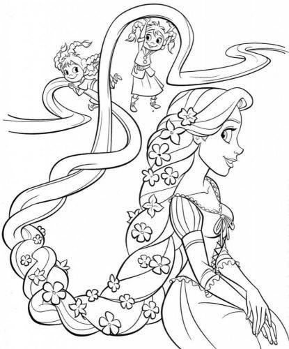 Download tranh tô màu công chúa tóc mây dễ thương cho bé 28
