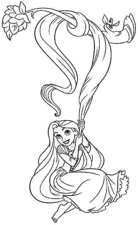 Download tranh tô màu công chúa tóc mây dễ thương cho bé 20