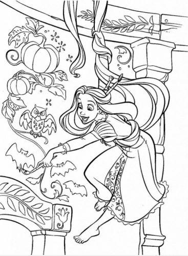 Download tranh tô màu công chúa tóc mây dễ thương cho bé 17