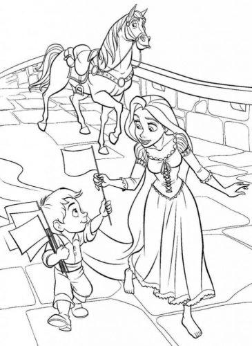 Download tranh tô màu công chúa tóc mây dễ thương cho bé 24