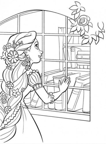 Download tranh tô màu công chúa tóc mây dễ thương cho bé 25