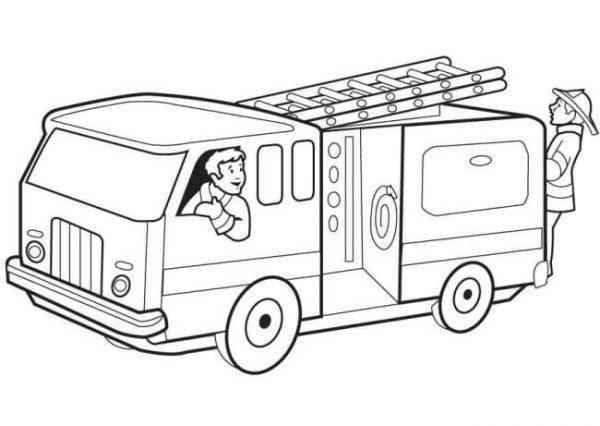 Download tranh tô màu xe cứu hỏa cho bé chủ đề nghiệp 12