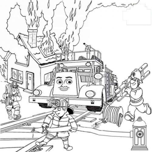 Download tranh tô màu xe cứu hỏa cho bé chủ đề nghiệp 9