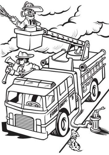 Download tranh tô màu xe cứu hỏa cho bé chủ đề nghiệp 10