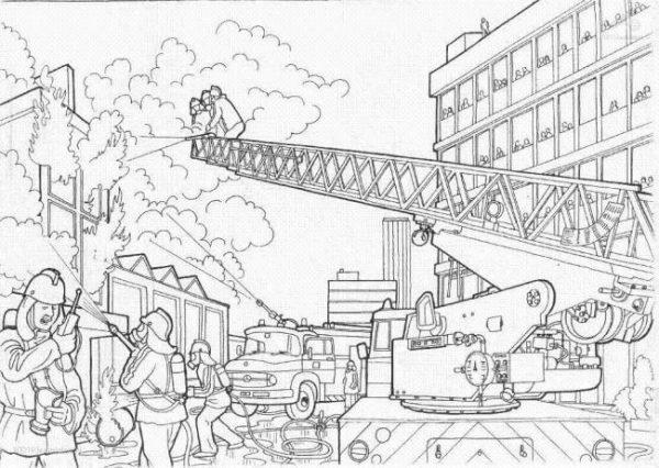 Download tranh tô màu xe cứu hỏa cho bé chủ đề nghiệp 11