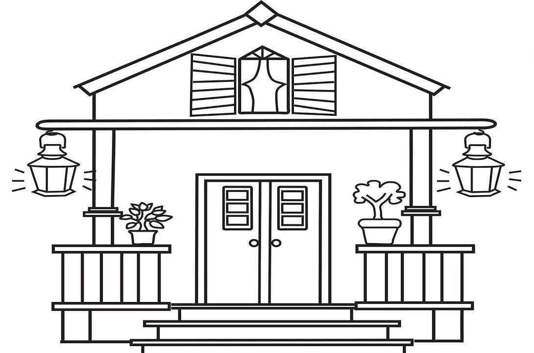 Bộ sưu tập tranh tô màu ngôi nhà cho bé tập tô 13
