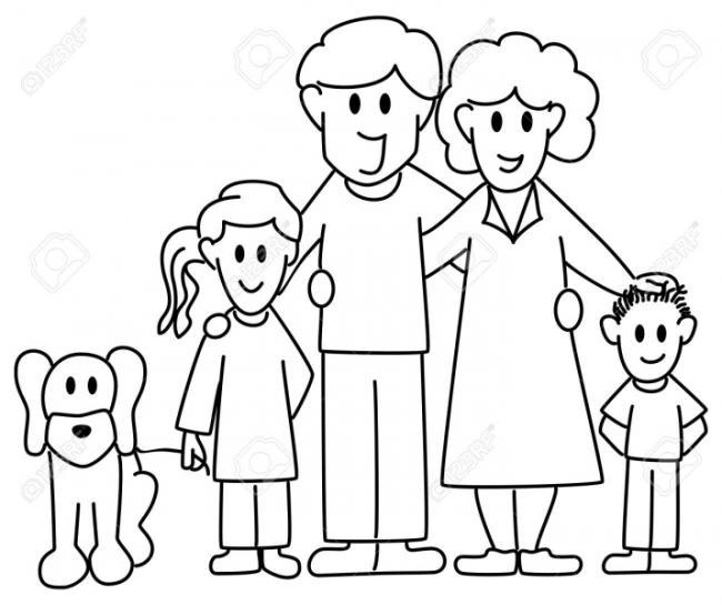 Bộ sưu tập tranh tô màu gia đình cho bé chủ đề gia đình hạnh phúc 1