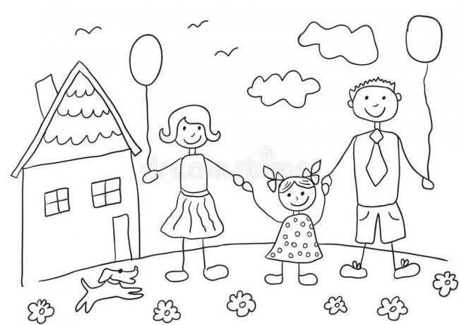 Bộ sưu tập tranh tô màu gia đình cho bé chủ đề gia đình hạnh phúc 3