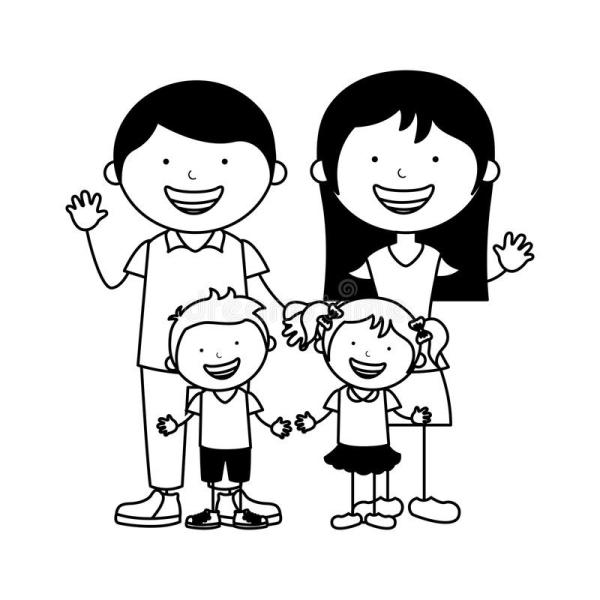 Bộ sưu tập tranh tô màu gia đình cho bé chủ đề gia đình hạnh phúc 6