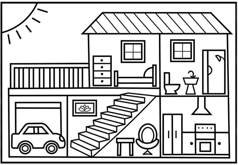 Bộ sưu tập tranh tô màu ngôi nhà cho bé tập tô 5