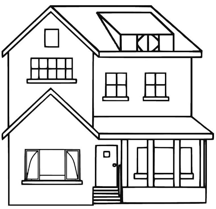 Bộ sưu tập tranh tô màu ngôi nhà cho bé tập tô 14