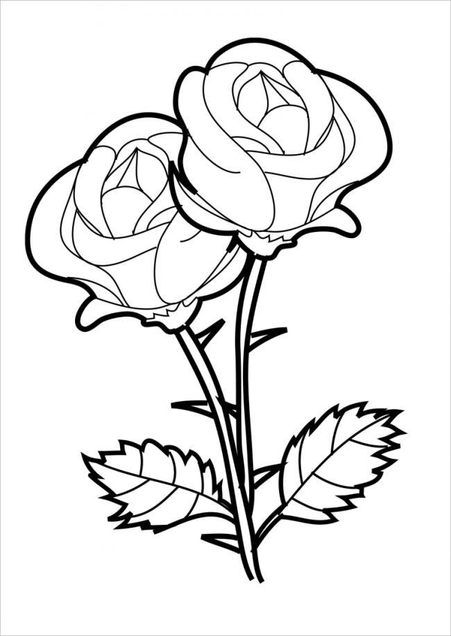 Download tranh tô màu hoa hồng cho bé được tải nhiều nhất 12