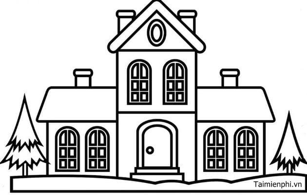 Bộ sưu tập tranh tô màu ngôi nhà cho bé tập tô 16
