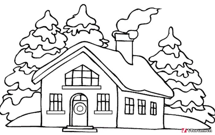 Bộ sưu tập tranh tô màu ngôi nhà cho bé tập tô 20