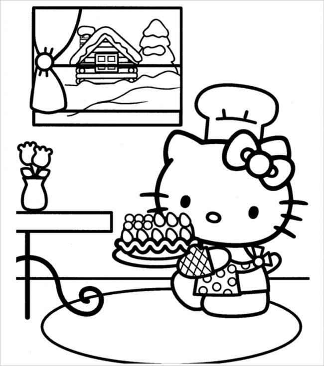 Tuyển tập 15 bức tranh tô màu mèo Hello Kitty cho bé mới nhất! 30