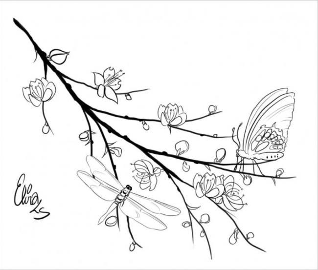 Tranh tô màu hoa đào hoa mai ngày Tết đẹp cho bé 25