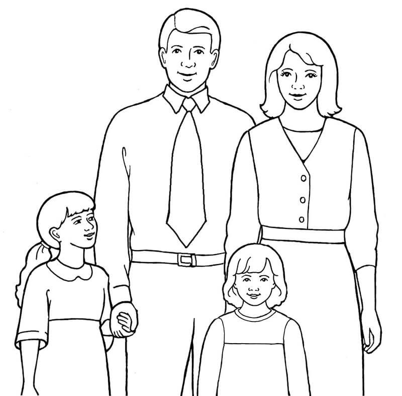 Download tải tranh tô màu bố mẹ gia đình cho bé 7
