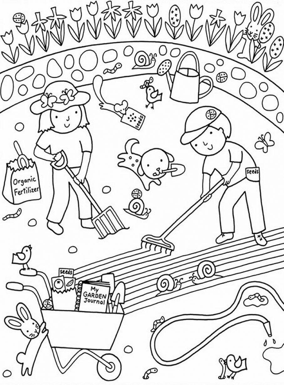 Tổng hợp các bức tranh tô màu dụng cụ nghề nông cho bé tập tô 36