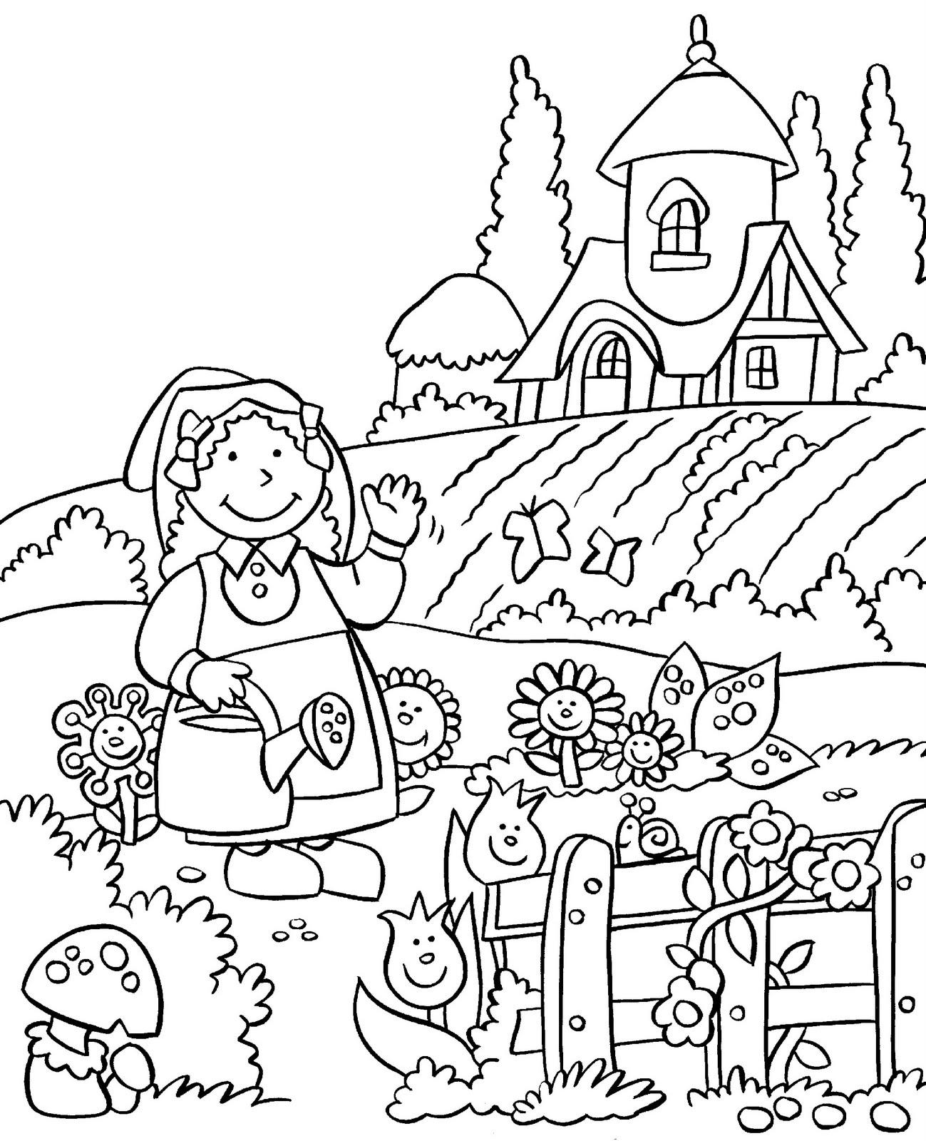 Tổng hợp các bức tranh tô màu dụng cụ nghề nông cho bé tập tô 37