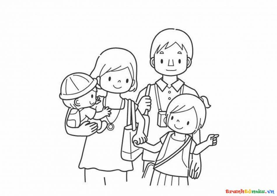 Download tải tranh tô màu bố mẹ gia đình cho bé 11