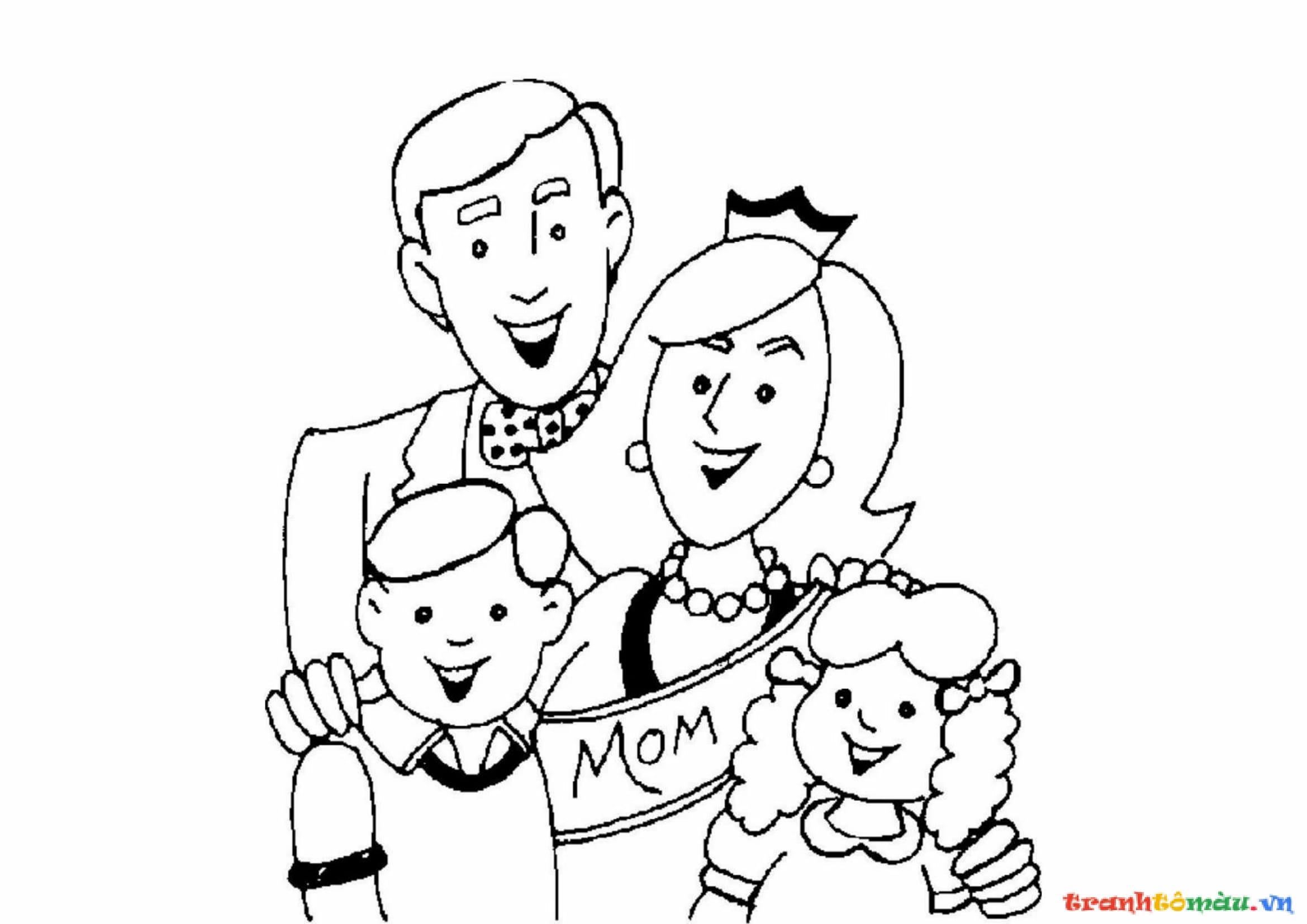 Download tải tranh tô màu bố mẹ gia đình cho bé 14