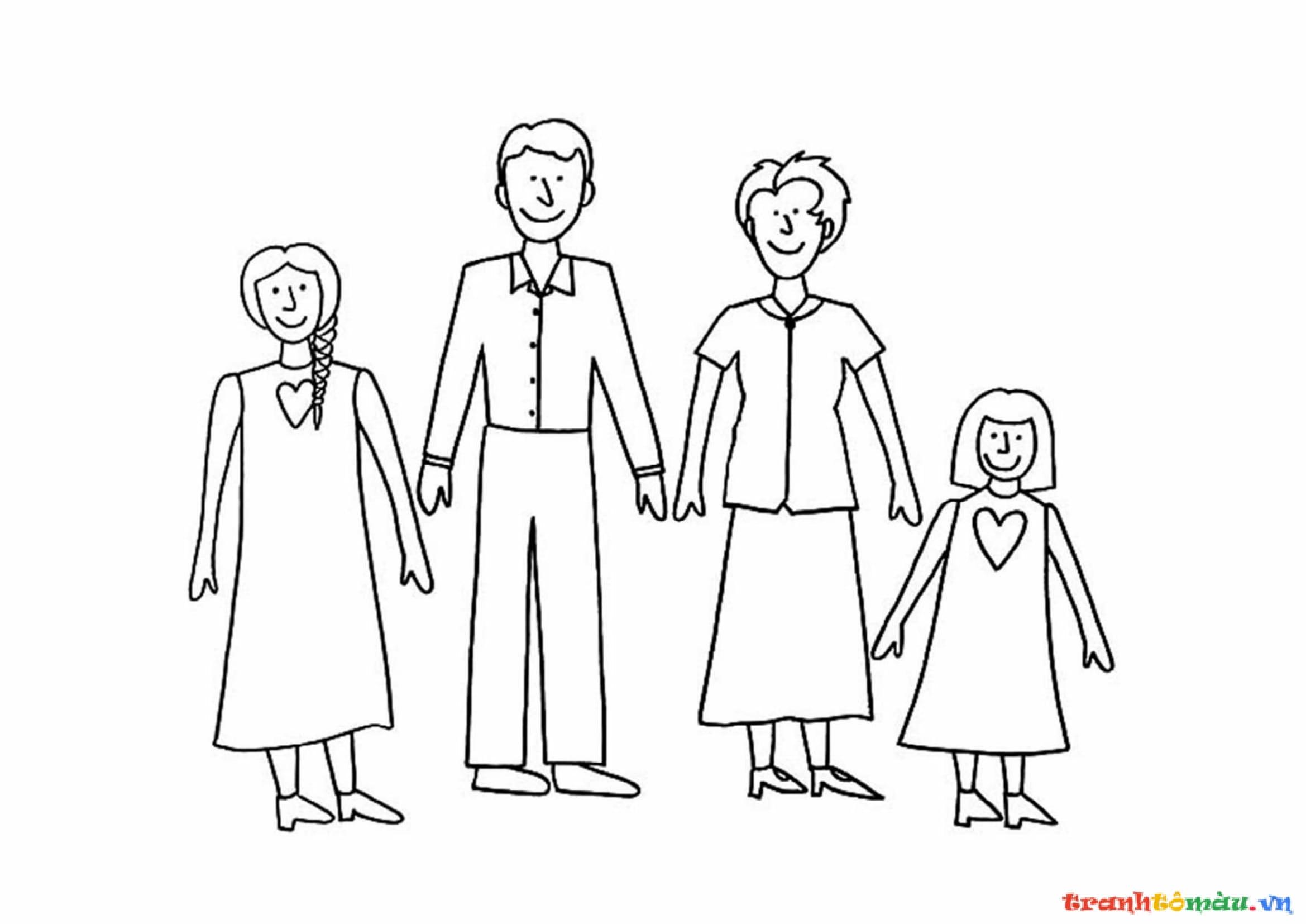 Download tải tranh tô màu bố mẹ gia đình cho bé 15