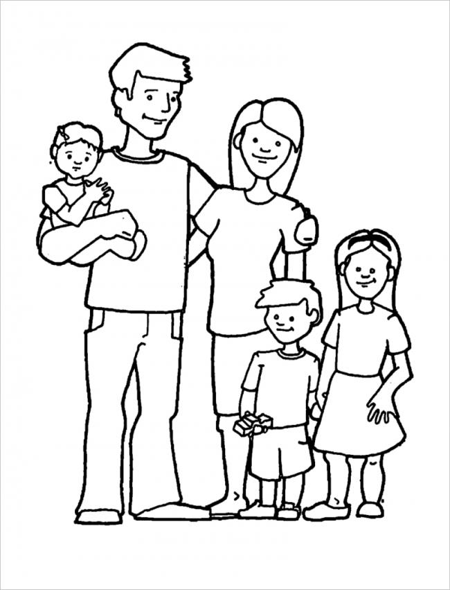 Download tải tranh tô màu bố mẹ gia đình cho bé 13