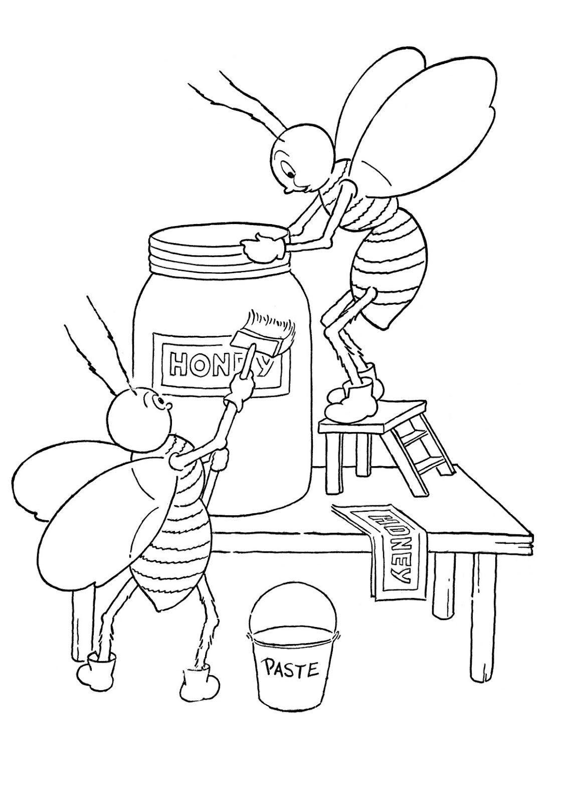 Tranh tô màu con ong chăm chỉ siêu dễ thương cho bé 55