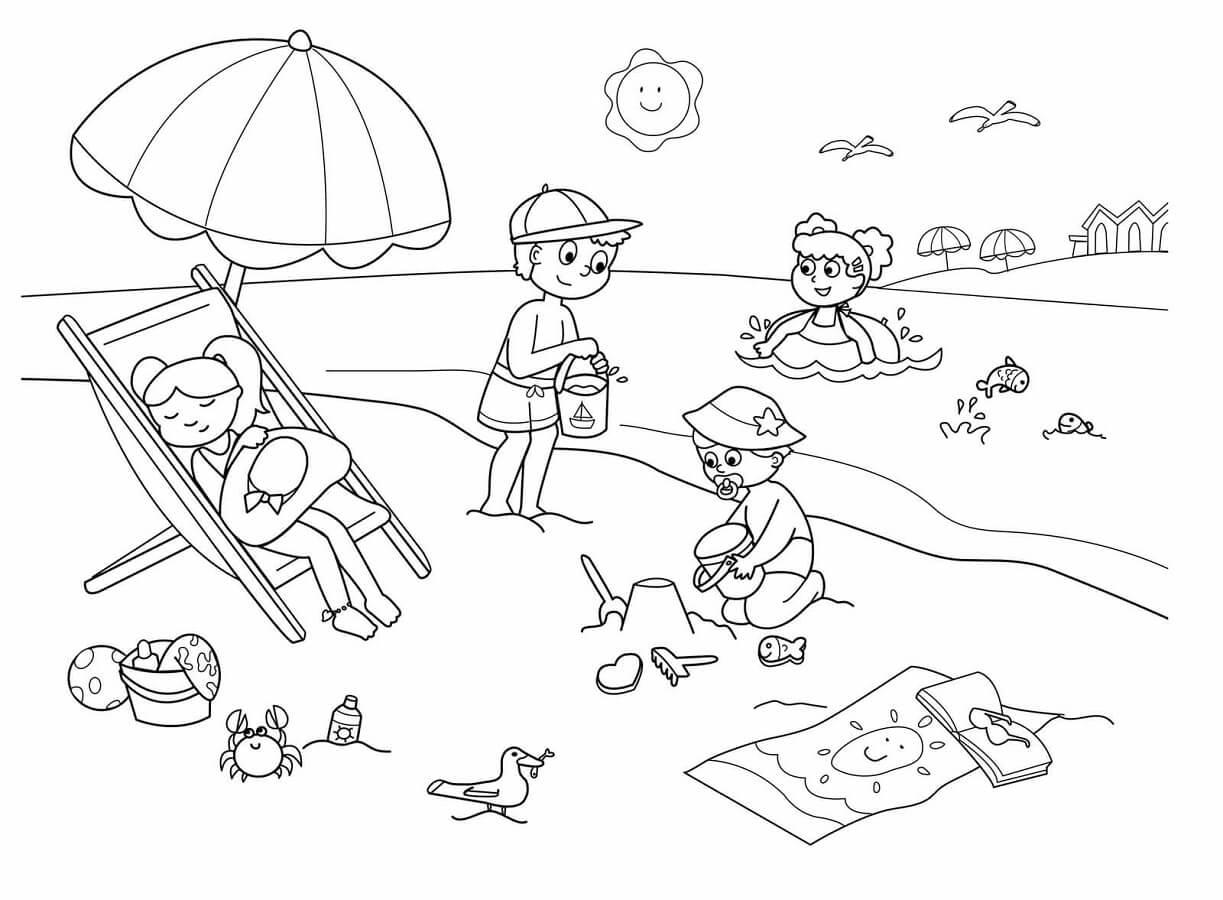 Tranh tô màu cảnh biển dành cho bé yêu thích mùa hè 8