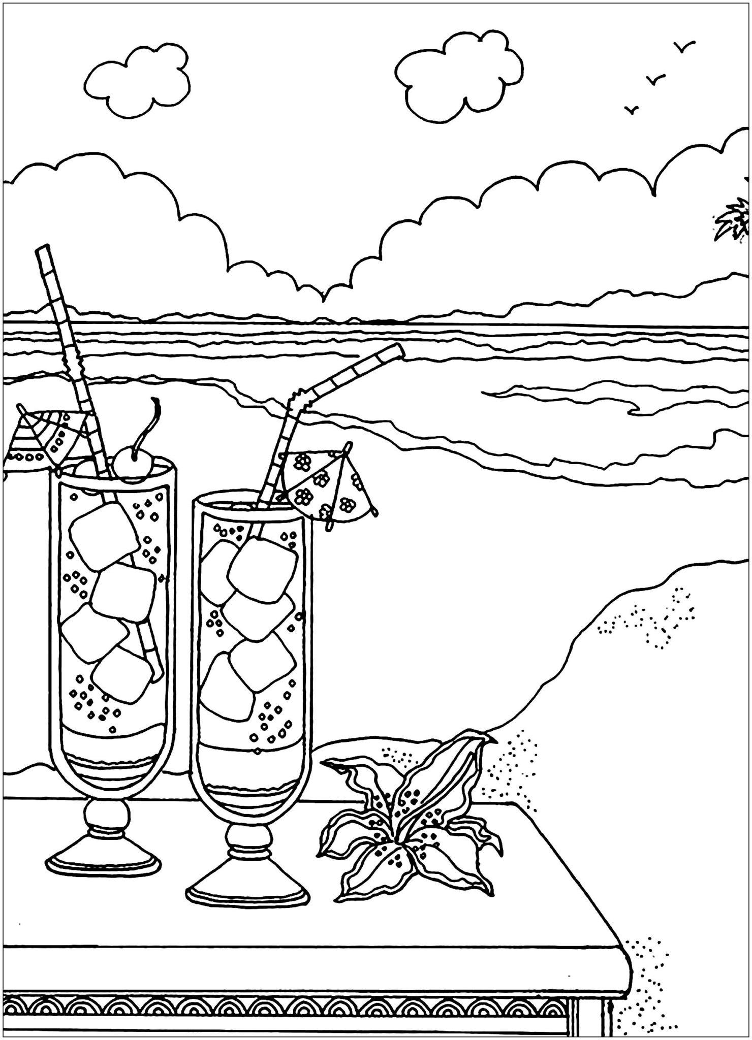 Tranh tô màu cảnh biển dành cho bé yêu thích mùa hè 12