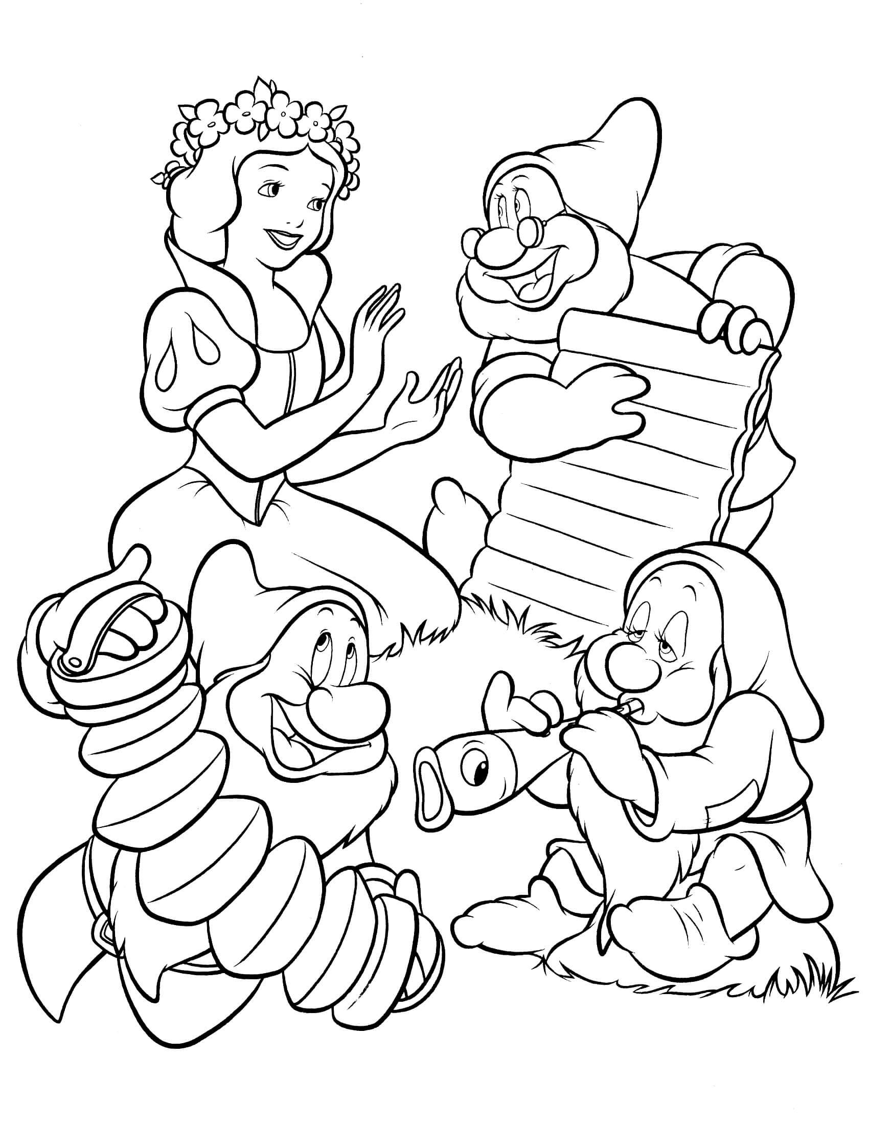 Tuyển tập tranh tô màu nàng Bạch Tuyết xinh đẹp trong truyện cổ tích 31