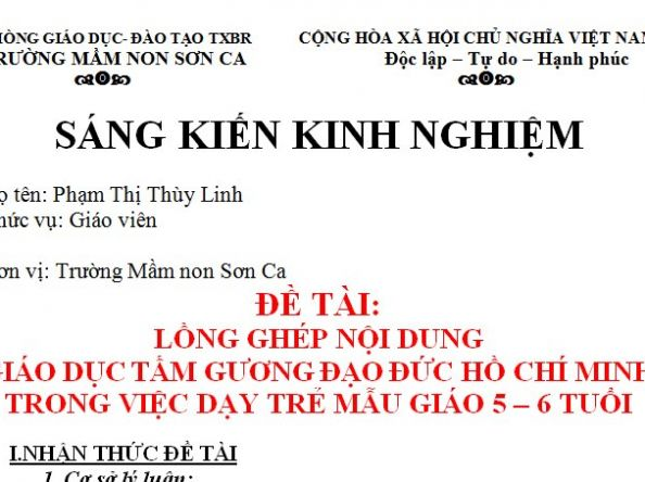 SKKN lồng ghép nội dung giáo dục tấm gương đạo đức Hồ Chí Minh dạy trẻ mẫu giáo