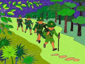"""Giáo án thơ """"Chú bộ đội hành quân trong mưa"""""""